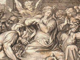 Fragmento del grabado de Pietro Santi Bartoli, de finales del siglo XVII, basado en un dibujo de Annibale Carracci. La adoración de los pastores